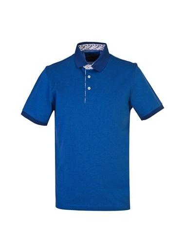 Kiğılı Polo Yaka Regular Fit Merserize Tişört Mavi
